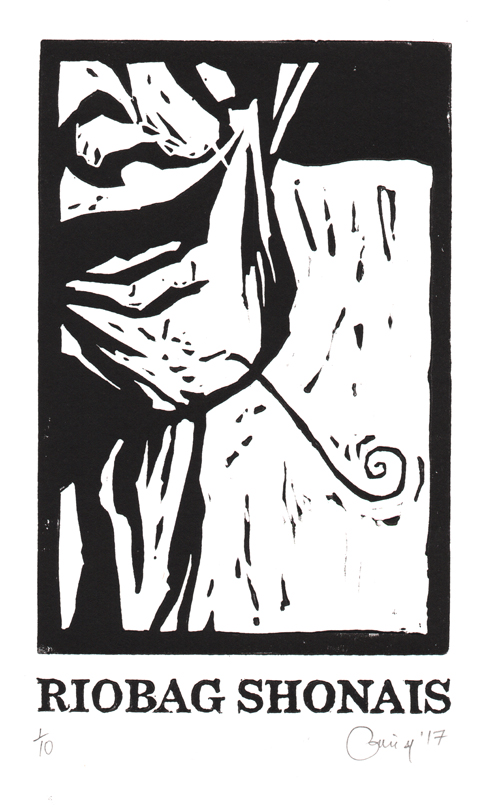 Linocut © Catrìona Black, from Sly Cooking: 42 Irresistible Gaelic Words published by Acair